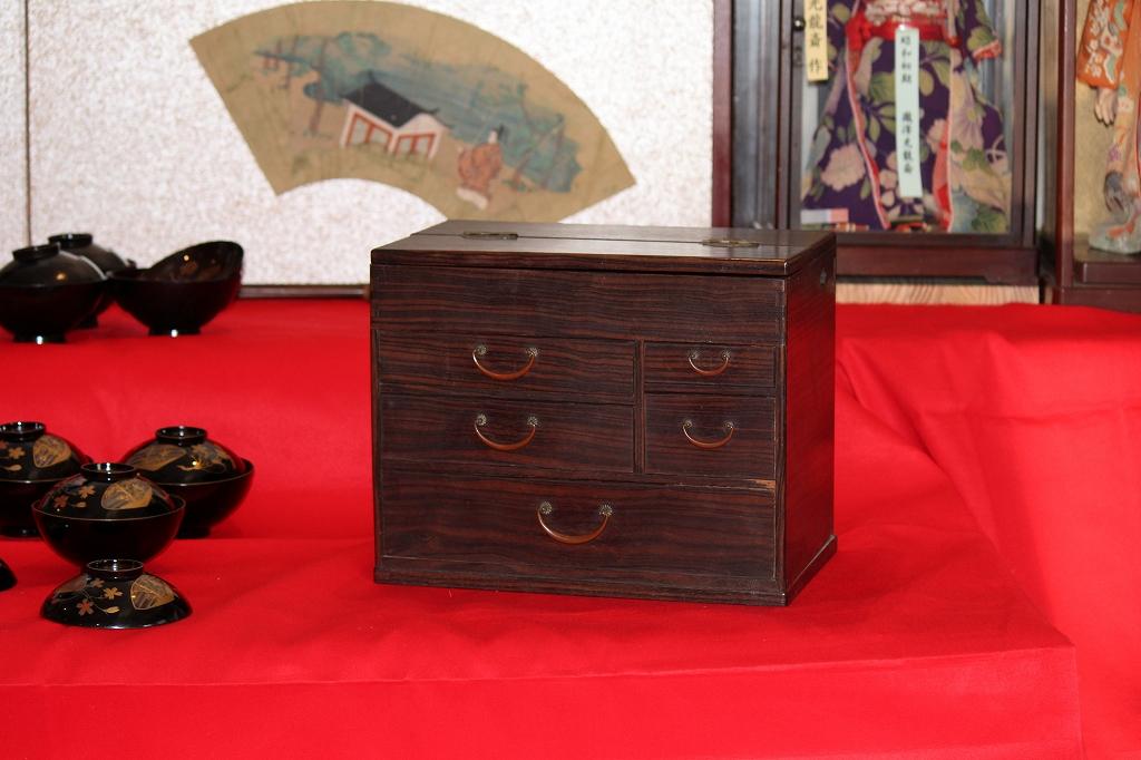 黒柿の針箱|くけ台付|針箱、裁縫箱 140124-03