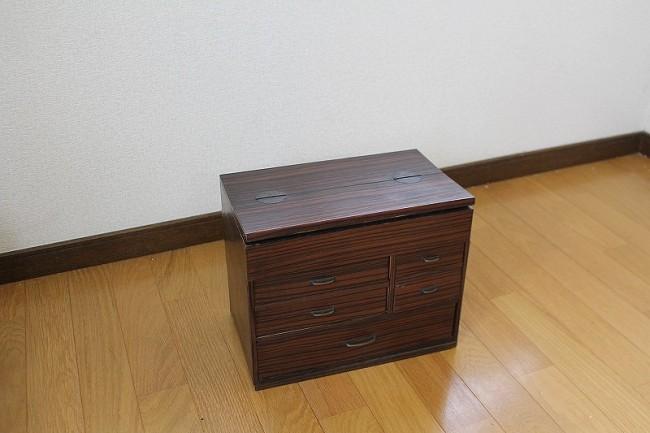 黒柿の針箱|骨董|木目|針箱・裁縫箱  2015-004
